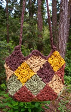 Patchwork Bag - PA-214 - A crochet pattern from Nancy Brown-Designer. Twenty-five motifs are joined as you crochet to make this versatile and easy-going bag. This pattern PDF can be purchased at my Etsy Pattern Store for $3.29, just click on the photo.