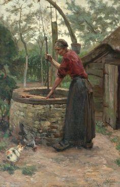 Roeland 'Roland' Larij (Dordrecht 1855-1932) Bij de waterput - Kunsthandel Simonis en Buunk, Ede (Nederland).