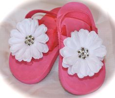 Hot Pink Flower Flip Flops by theblingbowtique on Etsy, $9.99