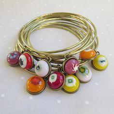 Bohemian Bangles, Boho-Chic Bangles, Fused Glass Bracelets, Set of Stacking Bangles, Stackable Bracelets  A set of 10 stacking brass bangles , each