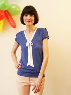 """Kurzarmblusen - Jerseyshirt """"Nieke"""", jeansblau m. Schleifenkragen - ein Designerstück von Jekyll-und-Kleid bei DaWanda"""