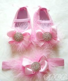 Princess Baby Girl Pink Crib Shoes and headband set ,baby booties,elastic headband, by TheBabyBellaBoutique on Etsy https://www.etsy.com/listing/97728035/princess-baby-girl-pink-crib-shoes-and
