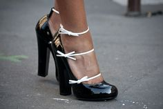 Loving the mix of the sturdy shoe and the dainty bows.  Guerre  - MarieClaire.com