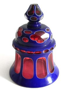 Antique 1840 Boston & Sandwich Double Overlay Blue cut to Cranberry Glass smoke bell.