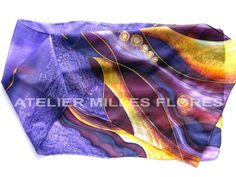 Hodvábny šál / Silk scarf, ručne maľovaný hodváb / Hand-painted silk