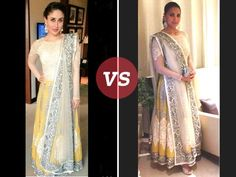 Bollywood beauty Kareena Kapoor Khan was seen wearing the same anarkali worn by Lara Dutta at Dia Mirza's wedding reception. The white and yellow anarkali seems quite in demand after it went off the ramp. Who do you think wore better ?