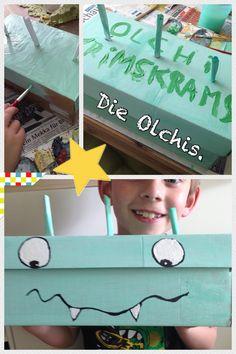 Aus einem Schuhkarton mit Klappdeckel hat mein Sohn sich eine Sammel - Krimskramkiste für seine Olchi-Sammlung/Bücher gebastelt.