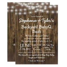 BabyQ Backyard BBQ Bash Wood Rustic Baby Shower Invitation Backyard Baby Showers, Backyard Bbq, Wedding Backyard, Wood Invitation, Rustic Invitations, Invites, Wedding Invitations, Zazzle Invitations, Custom Baby Shower Invitations