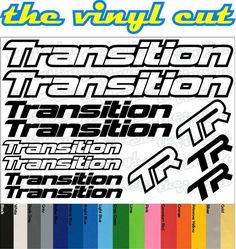 Transition Die-cut decal / sticker sheet (cycling, mtb, bmx, road, bike) #Transition