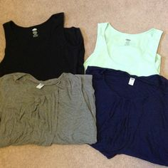 4 Maternity Tank Bundle Black and sea foam green ribbed tanks with side ruching in XL. Navy and grey tanks with gathering down the front in Large. Both fit about the same just got XL in ribbed so they were longer. Great for layering. Old Navy Tops Tank Tops