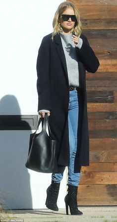 Working mother: Rosie Huntington-Whiteley proved she was ready to get back to work as she stepped out for a day of meetings in Beverly Hills on Saturday
