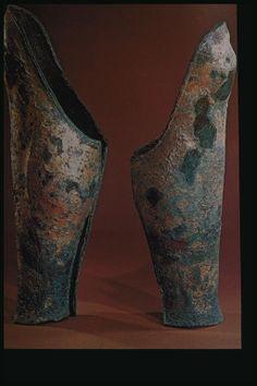 Bronze Greaves, 336 BC, from tomb of Philip II in Vergina. Museum of Vergina, Macedonia