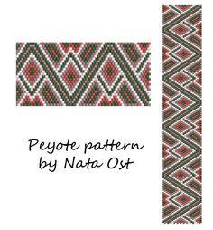 "Beading Pattern Peyote Stitch Bracelet ""Zigzag"" Seed Bead Cuff Instant Download"