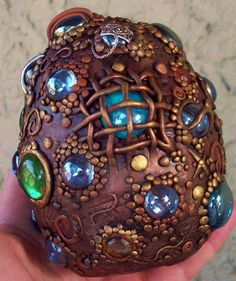 Mosaic dragon egg sculpture. what if the kids found something like this in the yard on beltane?
