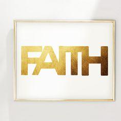 PRINT Faith Gold Foil Print by GlamLambCreations on Etsy, $38.99