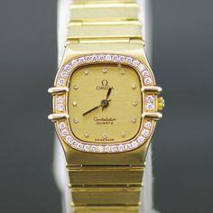 【中古】OMEGA(オメガ) コンステレーション ダイヤベゼル 12Pダイヤ クオーツ K18 レディース ゴールド文字盤時計/K18WG素材にダイヤベゼル、12pダイヤと豪華な逸品です。/新品同様・極美品・美品の中古ブランド時計を格安で提供いたします。