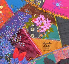 I ❤ crazy quilting & ribbon embroidery . . . Dark Dusty  BLOCK THREE - This is how the block looks complete or at least complete for now. Once I join them together who knows what I may add. ~By Lorraine Stobie, Creative Daily