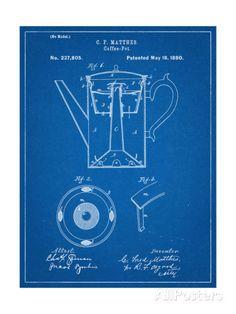 Coffee Pot Patent Art Print by Patent Prints on Scoutmob Shoppe Blueprint Coffee, Wall Art Prints, Fine Art Prints, Poster Prints, Patent Drawing, Coffee Poster, Pause, Patent Prints, Vintage Coffee