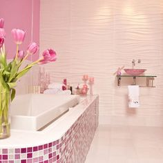 This tile around the bath adds great color and whimsical attitude!