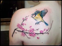 Cherry blossom Blue Tit bird shoulder tattoo tattooed at Love Hate Tattoo in Edinburgh, UK by Genghis Artist of Tattoo Ink Spot tattoo shop in San Diego Pacific Beach and Escondido California