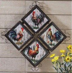 Country Farmhouse Roosters Decorative Wall Art Decor