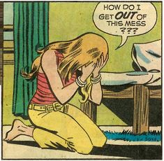 "Comic Girls Say.. ""How do I get OUT of this mess? "" #comic #popart #vintage"