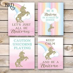 Unicorn Party Sign Set of 4- 8x10 Instant Download Unicorn Birthday Pastel Gold…