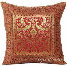 "16"" Burgundy Brocade Throw Pillow Toss Cushion Ethnic Indian Decor India Art 