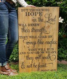 New design available from my little shop.   Isaiah 40:31.  But those who hope in the Lord.   Hand painted wooden signs.   Find this and more on my Facebook page Designs by Vena or email me for orders at Designsbyvena@gmail.com.   follow me on Instagram @vena_hallahan.  #designsbyvena #customsigns #handpainted #becreative #isaiah40