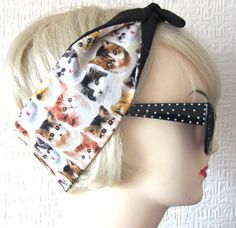 Super Cute & Kawaii Kitten Face Cat print Hair Tie by DollyCool