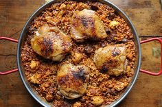Moorish Paella: another fabulous recipe from Food52.  We couldn't find harissa at our grocery store, so here's a simple way to make it from scratch: http://mideastfood.about.com/od/dipsandsauces/r/harissa.htm