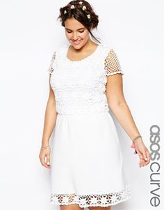 ASOS+CURVE+Crochet+Skater+Dress