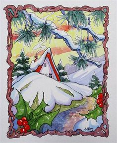 """A Gentle Winter Morning Storybook Cottage Series"" - Original Fine Art for Sale - ©Alida Akers"