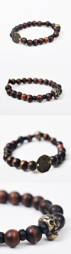 Gradation Wood Beads Elastic Men's Vintage Skull Bracelet By Guylook.com