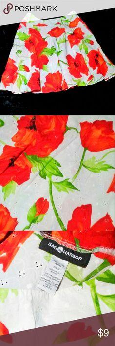 Ladies White Floral Skirt Ladies Size 16 White with Red Flowers Skirt Sag Harbor Skirts Midi