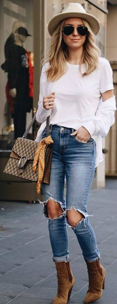 #spring #outfits white top, sweater, ripped jeans, brown boots