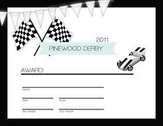 PineWood Derby Certificates  @Camy McGee ....  just an idea