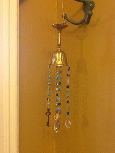Wine glass chalice goblet wind chime mobile Valentine. $16.00, via Etsy.