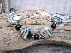 Ceramic Bead Necklace, Beaded Jewelry, Black Necklace