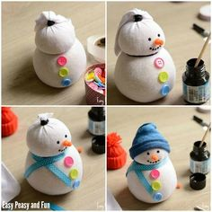 Creative DIY craft ideas for Christmas crafts with children- Kreative DIY Bastelideen für Weihnachtsbasteln mit Kindern Attach DIY craft ideas for Christmas crafts with children, snowman crafts buttons and decorative tape to the socks - Christmas Crafts For Kids, Holiday Crafts, Christmas Diy, Christmas Decorations, Simple Christmas, Sock Snowman Craft, Snowman Crafts, Diy Home Crafts, Creative Crafts