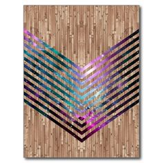Wood nebula chevron postcards