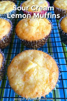 almost creamy taste from the sour cream gives these lemon muffins an indulgent lemon dessert like flavour. almost creamy taste from the sour cream gives these lemon muffins an indulgent lemon dessert like flavour. Brunch Recipes, Gourmet Recipes, Sweet Recipes, Baking Recipes, Dessert Recipes, Healthy Lemon Recipes, Recipes For Lemons, Recipes With Lemon, Gourmet Desserts