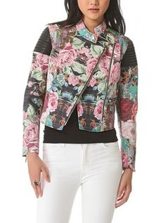 Tapestry leather Combo Jacket