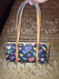 Authentic Dooney and Bourke ~ Doodle Hearts ~ Small with Long Straps