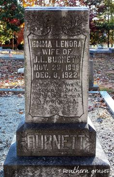 Southern Graves: Emma's Life was Craved (Today's Epitaph)