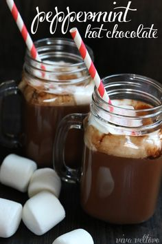 This peppermint hot chocolate recipe is so creamy and decadent!