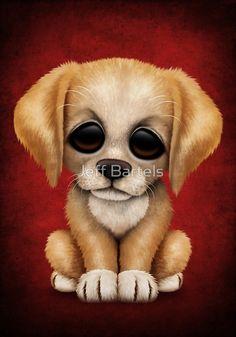 Cute Golden Retriever Puppy Dog on Red | Jeff Bartels