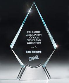 Quill Diamond Glass  Award | edco.com