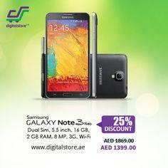 AED 1399 - Samsung Galaxy Note 3 Neo  (Dual Sim, 5.5 inch, 16 GB, 2 GB RAM, 3G, Wi-Fi)  Shop Now - www.digitalstore.ae