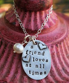 The Vintage Pearl Scripture Verse Necklace   A Friend Loves at All Times